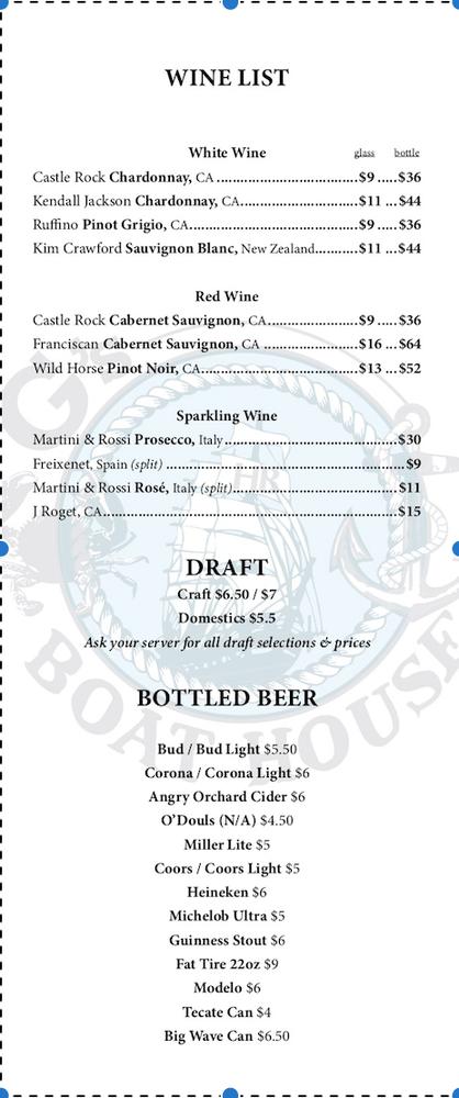 Menu - Wine and Beer